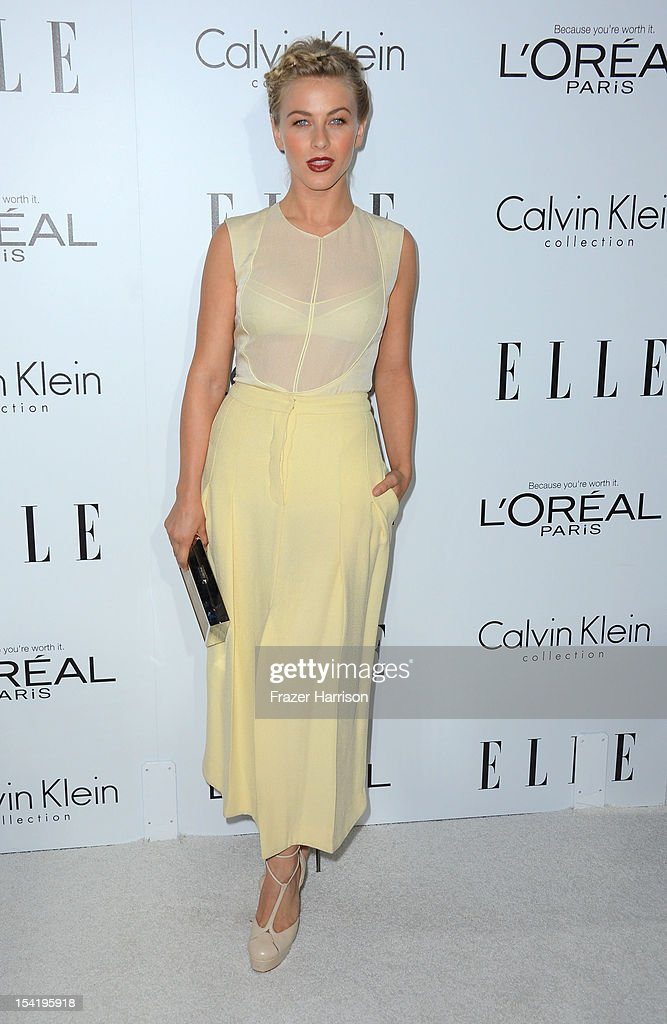 Actress <a gi-track='captionPersonalityLinkClicked' href=/galleries/search?phrase=Julianne+Hough&family=editorial&specificpeople=4237560 ng-click='$event.stopPropagation()'>Julianne Hough</a> arrives at ELLE's 19th Annual Women In Hollywood Celebration at the Four Seasons Hotel on October 15, 2012 in Beverly Hills, California.