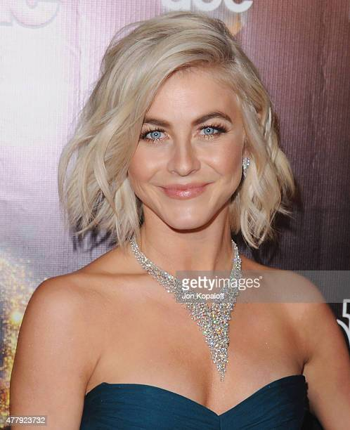 Actress Julianne Hough arrives at the 10th Anniversary Of 'Dancing With The Stars' Party at Greystone Manor on April 21 2015 in West Hollywood...
