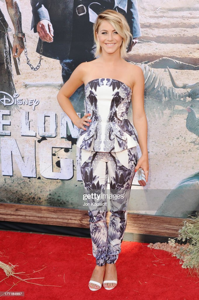 Actress <a gi-track='captionPersonalityLinkClicked' href=/galleries/search?phrase=Julianne+Hough&family=editorial&specificpeople=4237560 ng-click='$event.stopPropagation()'>Julianne Hough</a> arrives at the Los Angeles premiere 'The Lone Ranger' at Disney California Adventure Park on June 22, 2013 in Anaheim, California.