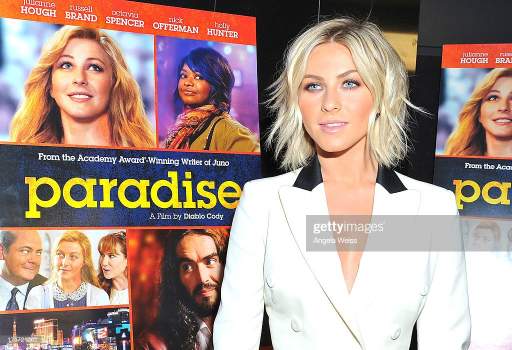 Actress <a gi-track='captionPersonalityLinkClicked' href=/galleries/search?phrase=Julianne+Hough&family=editorial&specificpeople=4237560 ng-click='$event.stopPropagation()'>Julianne Hough</a> arrives at the premiere of DirecTV's 'Paradise' at Mann Chinese 6 on August 6, 2013 in Los Angeles, California.