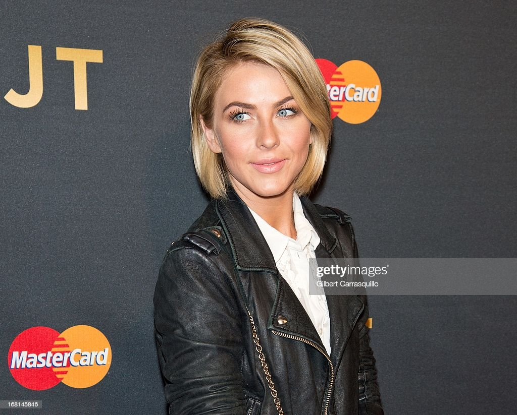 Actress <a gi-track='captionPersonalityLinkClicked' href=/galleries/search?phrase=Julianne+Hough&family=editorial&specificpeople=4237560 ng-click='$event.stopPropagation()'>Julianne Hough</a> attends MasterCard Priceless premieres presents Justin Timberlake at Roseland Ballroom on May 5, 2013 in New York City.