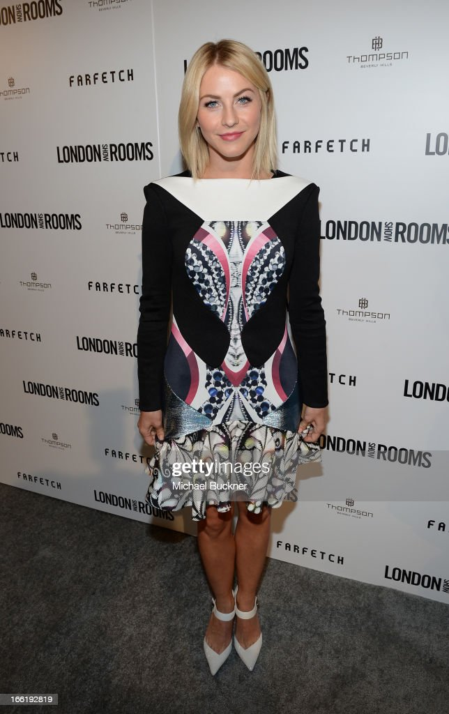 Actress <a gi-track='captionPersonalityLinkClicked' href=/galleries/search?phrase=Julianne+Hough&family=editorial&specificpeople=4237560 ng-click='$event.stopPropagation()'>Julianne Hough</a> attends the British Fashion Council LONDON Show ROOMS LA AW13 Opening Party at Thompson Hotel on April 9, 2013 in Beverly Hills, California.