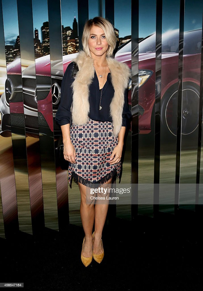Actress Julianne Hough attends the MercedesBenz Evolution Tour with Alabama Shakes Young the Giant at The Barker Hangar on November 6 2014 in Santa...