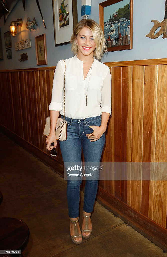 Actress Julianne Hough wearing Paper Denim Cloth attends the Paper Denim Cloth and Baby2Baby Luncheon at Son Of A Gun on June 11 2013 in Los Angeles...