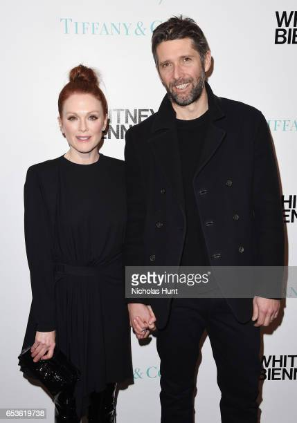 Actress Julianne Moore and Bart Freundlich attend the 2017 Whitney Biennial presented by Tiffany Co at The Whitney Museum of American Art on March 15...