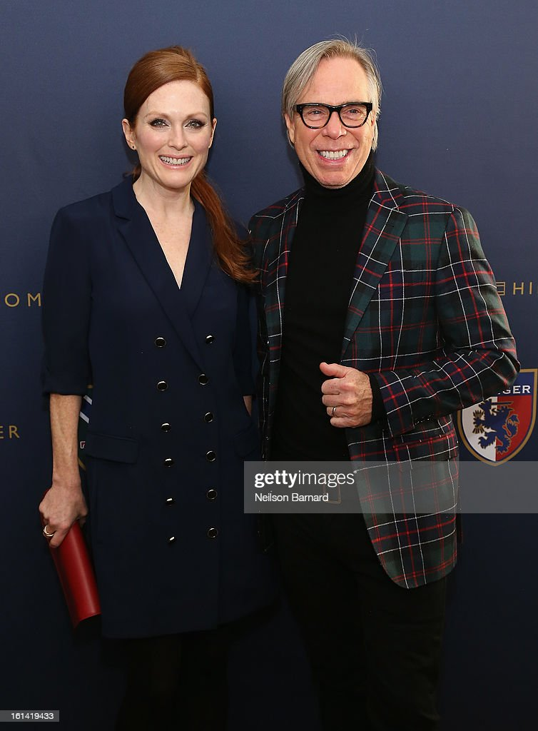Actress <a gi-track='captionPersonalityLinkClicked' href=/galleries/search?phrase=Julianne+Moore&family=editorial&specificpeople=171555 ng-click='$event.stopPropagation()'>Julianne Moore</a> and designer Tommy Hilfiger pose backstage at the Tommy Hilfiger Fall 2013 Women's Collection fashion show during Mercedes-Benz Fashion Week at the Park Avenue Armory on February 10, 2013 in New York City.