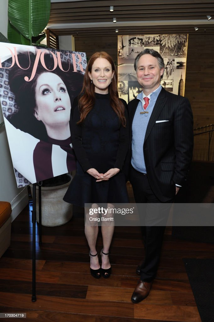 Actress <a gi-track='captionPersonalityLinkClicked' href=/galleries/search?phrase=Julianne+Moore&family=editorial&specificpeople=171555 ng-click='$event.stopPropagation()'>Julianne Moore</a> and <a gi-track='captionPersonalityLinkClicked' href=/galleries/search?phrase=Jason+Binn&family=editorial&specificpeople=204684 ng-click='$event.stopPropagation()'>Jason Binn</a>, CEO/Founder of DuJour Media attend DuJour Magazine Summer Issue celebrating the <a gi-track='captionPersonalityLinkClicked' href=/galleries/search?phrase=Julianne+Moore&family=editorial&specificpeople=171555 ng-click='$event.stopPropagation()'>Julianne Moore</a> cover on June 10, 2013 at Marlin Bar at Tommy Bahama in New York City.