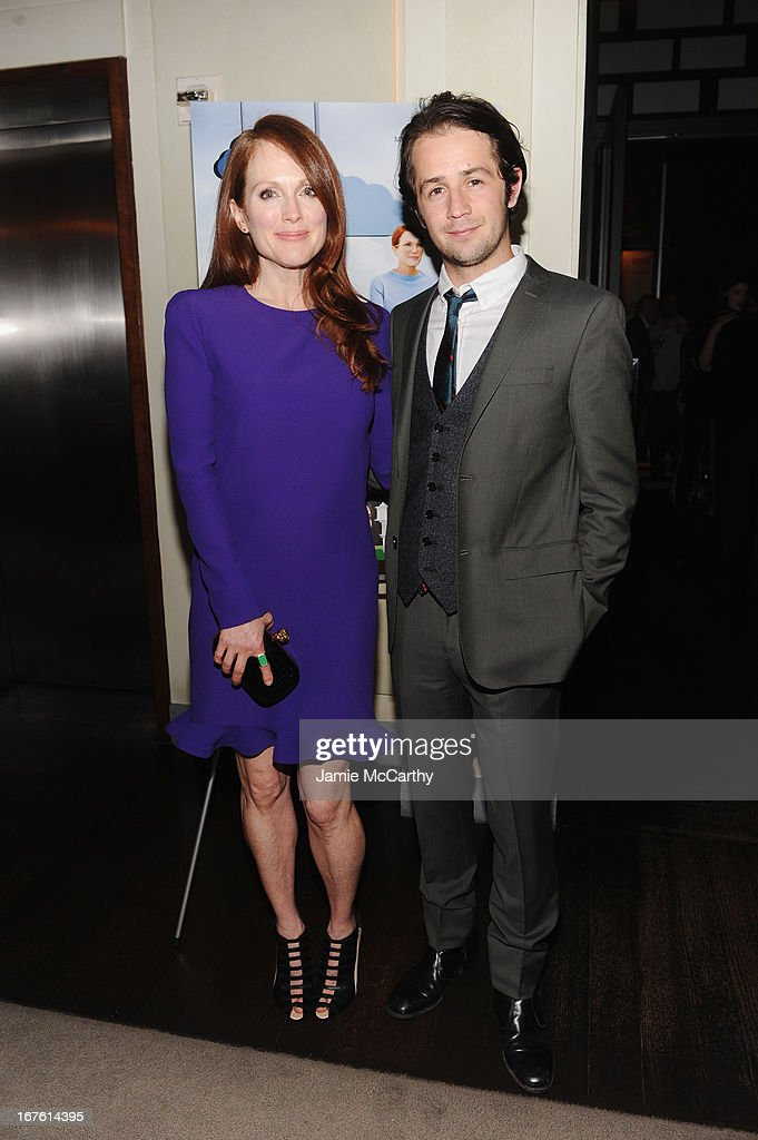 Actress <a gi-track='captionPersonalityLinkClicked' href=/galleries/search?phrase=Julianne+Moore&family=editorial&specificpeople=171555 ng-click='$event.stopPropagation()'>Julianne Moore</a> and <a gi-track='captionPersonalityLinkClicked' href=/galleries/search?phrase=Michael+Angarano&family=editorial&specificpeople=226743 ng-click='$event.stopPropagation()'>Michael Angarano</a> attend 'The English Teacher' After Party during the 2013 Tribeca Film Festival on April 26, 2013 in New York City.