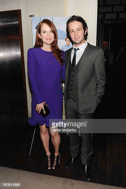 Actress Julianne Moore and Michael Angarano attend 'The English Teacher' After Party during the 2013 Tribeca Film Festival on April 26 2013 in New...