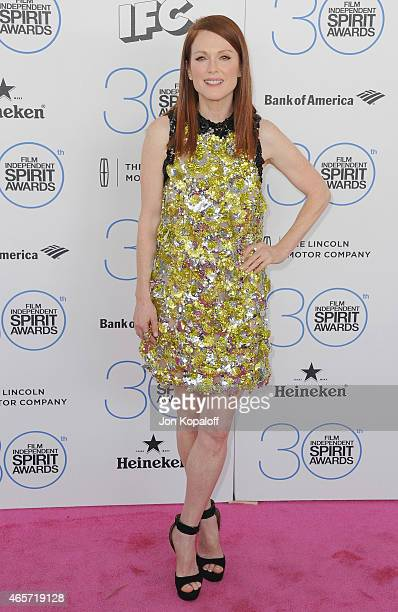 Actress Julianne Moore arrives at the 2015 Film Independent Spirit Awards on February 21 2015 in Santa Monica California