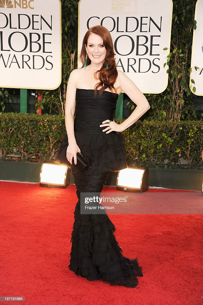 Actress Julianne Moore arrives at the 69th Annual Golden Globe Awards held at the Beverly Hilton Hotel on January 15 2012 in Beverly Hills California