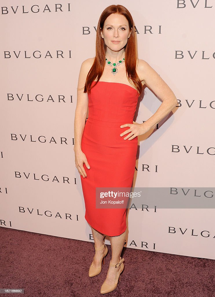 Actress <a gi-track='captionPersonalityLinkClicked' href=/galleries/search?phrase=Julianne+Moore&family=editorial&specificpeople=171555 ng-click='$event.stopPropagation()'>Julianne Moore</a> arrives at the Elizabeth Taylor Bulgari Event At The New Bulgari Beverly Hills Boutique on February 19, 2013 in Beverly Hills, California.