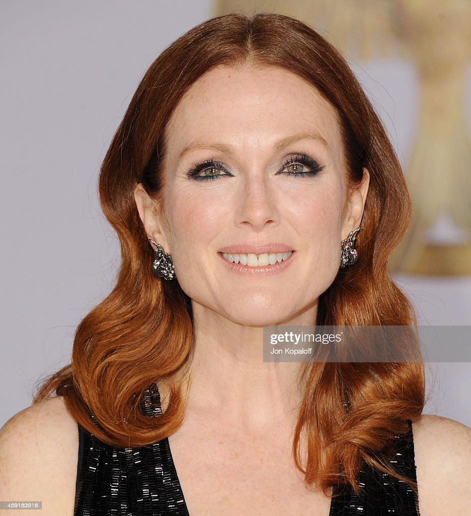 Actress Julianne Moore arrives at the Los Angele Premiere 'The Hunger Games Mockingjay Part 1' at Nokia Theatre LA Live on November 17 2014 in Los...