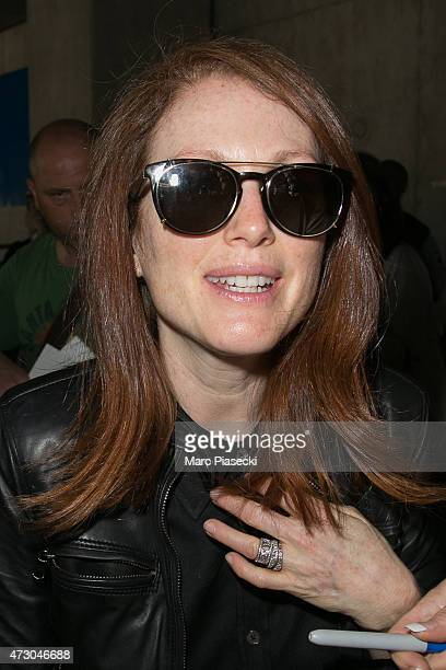 Actress Julianne Moore arrives at the Nice airport ahead the 68th annual Cannes Film Festival on May 12 2015 in Cannes France