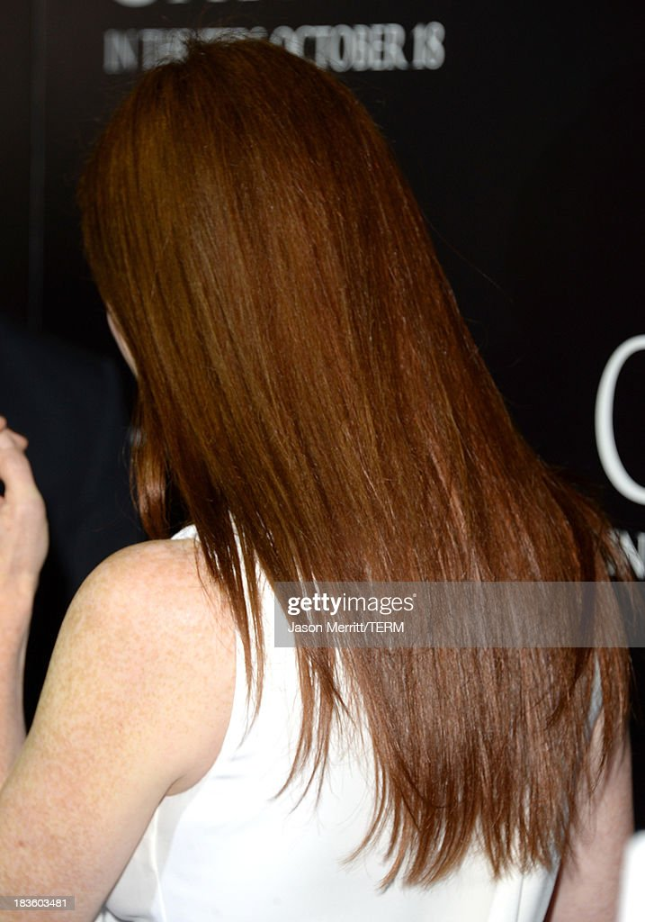 Actress Julianne Moore (hair detail) arrives at the premiere of Metro-Goldwyn-Mayer Pictures & Screen Gems' 'Carrie' at ArcLight Cinemas on October 7, 2013 in Hollywood, California.