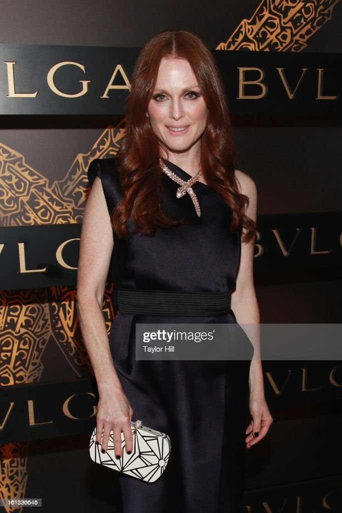 Actress <a gi-track='captionPersonalityLinkClicked' href=/galleries/search?phrase=Julianne+Moore&family=editorial&specificpeople=171555 ng-click='$event.stopPropagation()'>Julianne Moore</a> attends Bulgari Celebrates Icons Of Style: The Serpenti during Fall 2013 Fashion Week at Bulgari Fifth Avenue on February 9, 2013 in New York City.