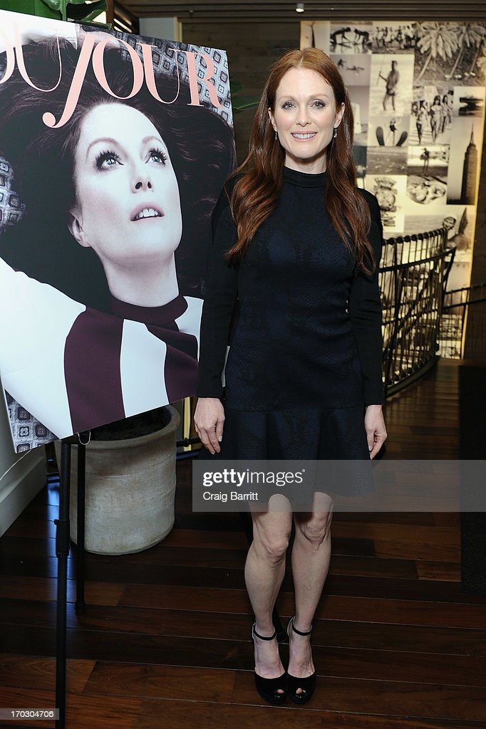 Actress <a gi-track='captionPersonalityLinkClicked' href=/galleries/search?phrase=Julianne+Moore&family=editorial&specificpeople=171555 ng-click='$event.stopPropagation()'>Julianne Moore</a> attends DuJour Magazine Summer Issue celebrating the <a gi-track='captionPersonalityLinkClicked' href=/galleries/search?phrase=Julianne+Moore&family=editorial&specificpeople=171555 ng-click='$event.stopPropagation()'>Julianne Moore</a> cover on June 10, 2013 at Marlin Bar at Tommy Bahama in New York City.