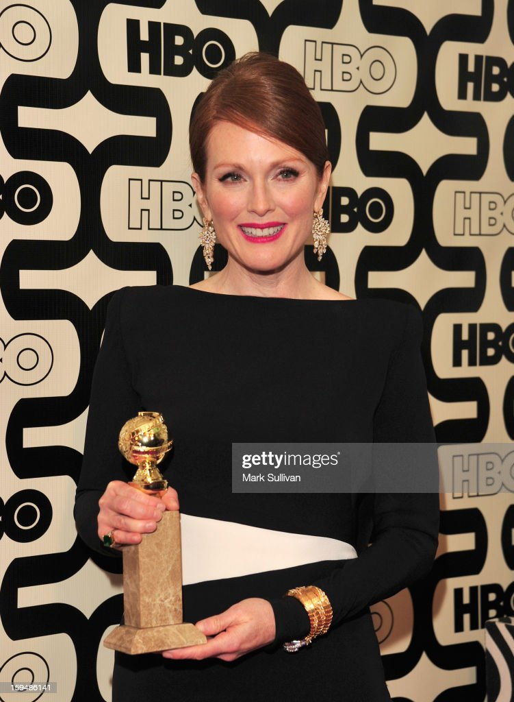 Actress <a gi-track='captionPersonalityLinkClicked' href=/galleries/search?phrase=Julianne+Moore&family=editorial&specificpeople=171555 ng-click='$event.stopPropagation()'>Julianne Moore</a> attends HBO's 70th Annual Golden Globes after party at Circa 55 Restaurant on January 13, 2013 in Los Angeles, California.