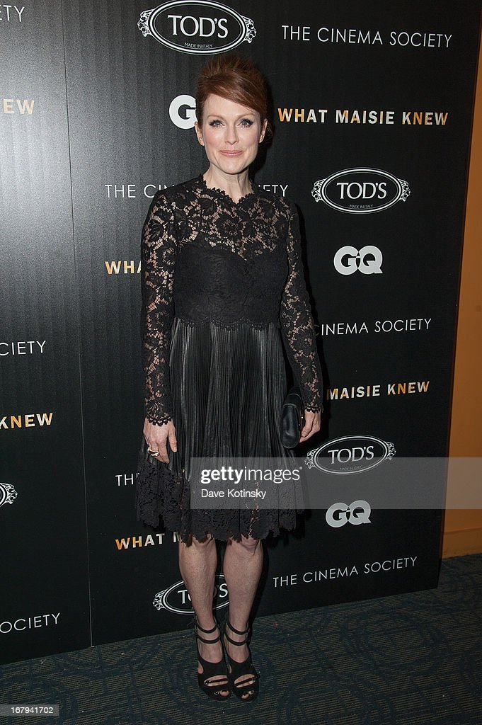 Actress <a gi-track='captionPersonalityLinkClicked' href=/galleries/search?phrase=Julianne+Moore&family=editorial&specificpeople=171555 ng-click='$event.stopPropagation()'>Julianne Moore</a> attends the a screening hosted by The Cinema Society With Tod's & GQ of Millennium Entertainment's 'What Maisie Knew' presented by The Cinema Society at Sunshine Landmark on May 2, 2013 in New York City.