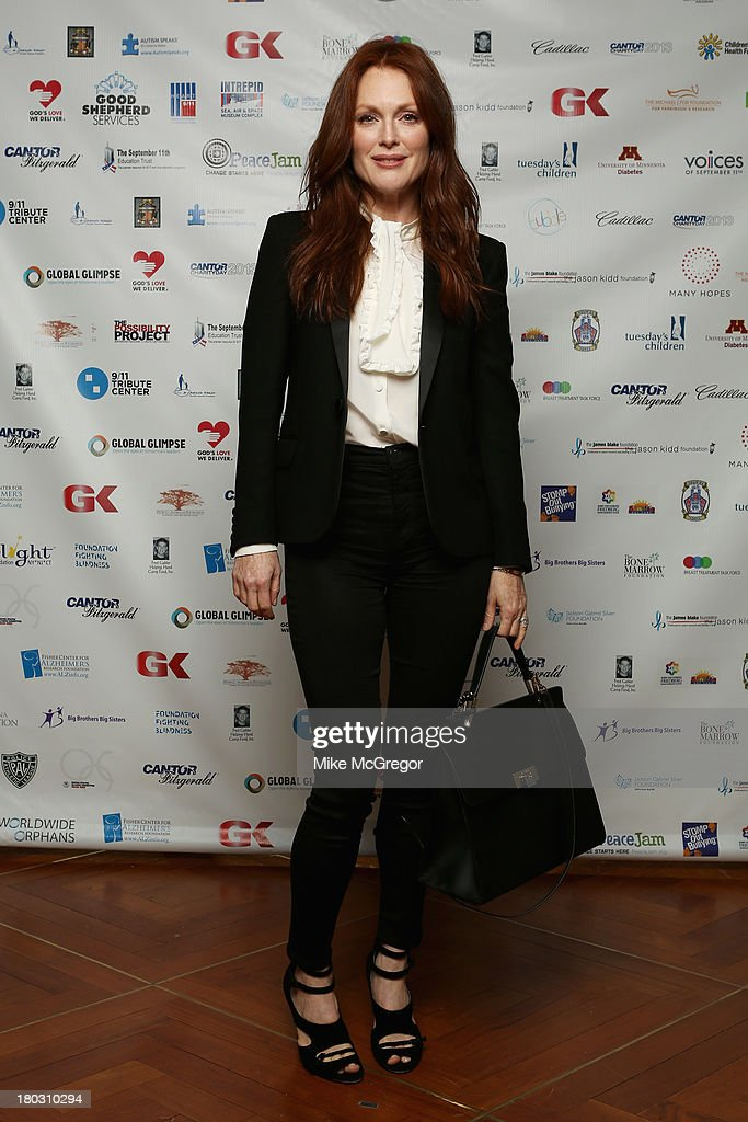 Actress <a gi-track='captionPersonalityLinkClicked' href=/galleries/search?phrase=Julianne+Moore&family=editorial&specificpeople=171555 ng-click='$event.stopPropagation()'>Julianne Moore</a> attends the Annual Charity Day Hosted By Cantor Fitzgerald And BGC at the Cantor Fitzgerald Office on September 11, 2013 in New York, United States.