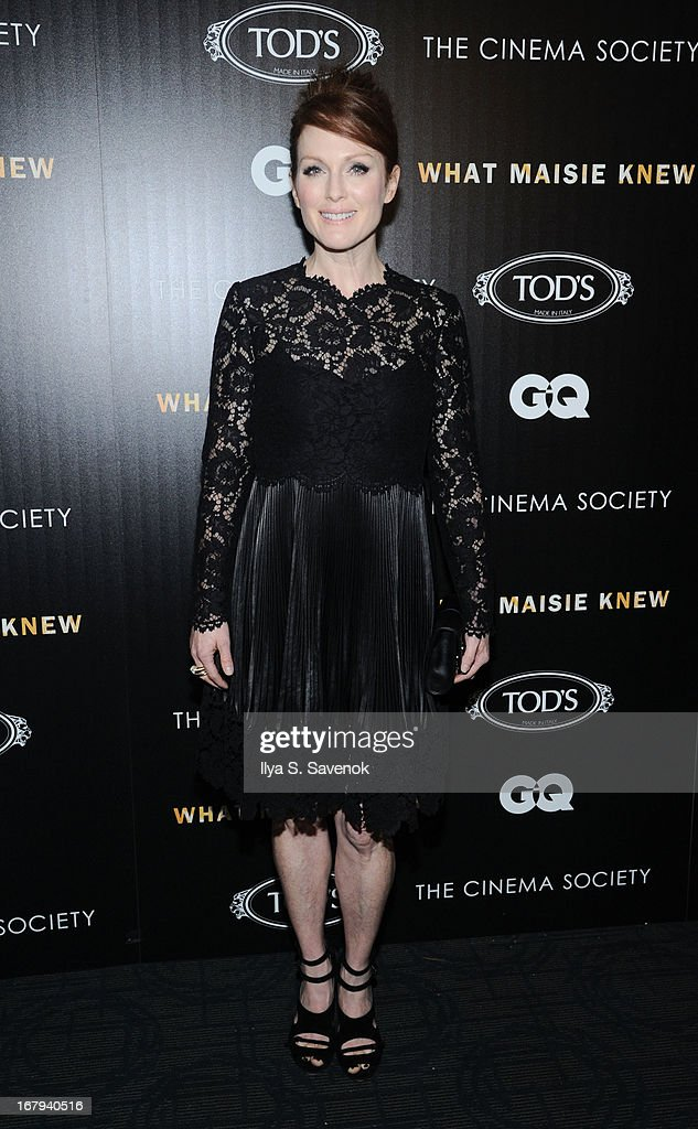 Actress <a gi-track='captionPersonalityLinkClicked' href=/galleries/search?phrase=Julianne+Moore&family=editorial&specificpeople=171555 ng-click='$event.stopPropagation()'>Julianne Moore</a> attends The Cinema Society with Tod's & GQ screening of Millennium Entertainment's 'What Maisie Knew' at Landmark Sunshine Cinema on May 2, 2013 in New York City.