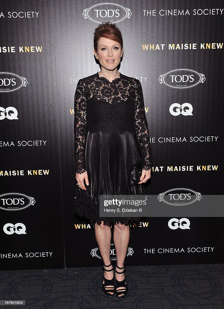 Actress Julianne Moore attends The Cinema Society with Tod's & GQ screening of Millennium Entertainment's 'What Maisie Knew' at Sunshine Landmark on May 2, 2013 in New York City.