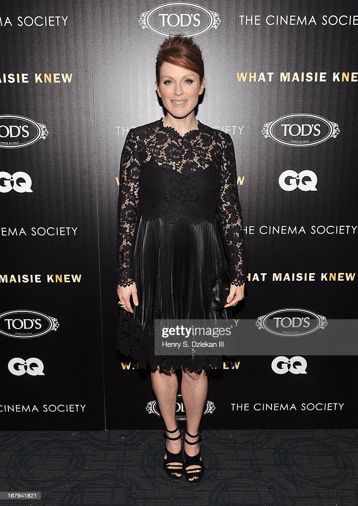 Actress <a gi-track='captionPersonalityLinkClicked' href=/galleries/search?phrase=Julianne+Moore&family=editorial&specificpeople=171555 ng-click='$event.stopPropagation()'>Julianne Moore</a> attends The Cinema Society with Tod's & GQ screening of Millennium Entertainment's 'What Maisie Knew' at Sunshine Landmark on May 2, 2013 in New York City.