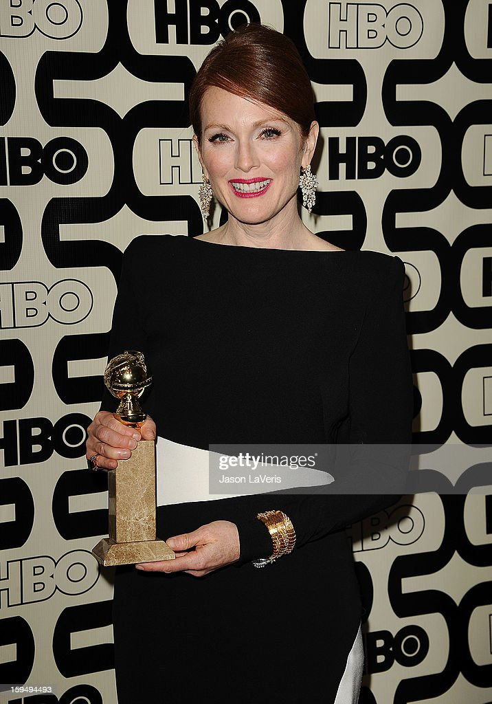 Actress <a gi-track='captionPersonalityLinkClicked' href=/galleries/search?phrase=Julianne+Moore&family=editorial&specificpeople=171555 ng-click='$event.stopPropagation()'>Julianne Moore</a> attends the HBO after party at the 70th annual Golden Globe Awards at Circa 55 restaurant at the Beverly Hilton Hotel on January 13, 2013 in Los Angeles, California.