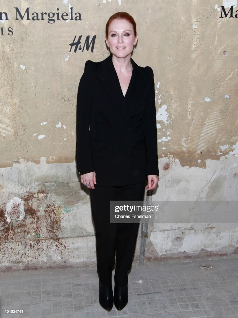 Actress <a gi-track='captionPersonalityLinkClicked' href=/galleries/search?phrase=Julianne+Moore&family=editorial&specificpeople=171555 ng-click='$event.stopPropagation()'>Julianne Moore</a> attends the Maison Martin Margiela & H&M Global launch party at 5 Beekman on October 23, 2012 in New York City.