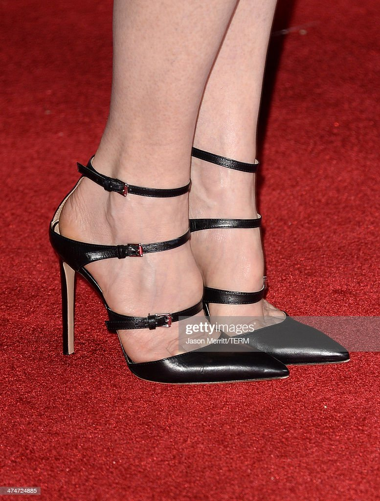 Actress Julianne Moore (shoe detail) attends the premiere of Universal Pictures and Studiocanal's 'Non-Stop' at Regency Village Theatre on February 24, 2014 in Westwood, California.