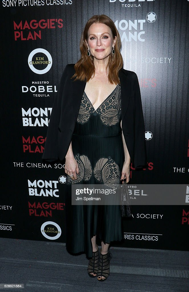 Actress <a gi-track='captionPersonalityLinkClicked' href=/galleries/search?phrase=Julianne+Moore&family=editorial&specificpeople=171555 ng-click='$event.stopPropagation()'>Julianne Moore</a> attends the screening of Sony Pictures Classics' 'Maggie's Plan' hosted by Montblanc and The Cinema Society with Mastro Dobel & Kim Crawford Wines at Landmark Sunshine Cinema on May 5, 2016 in New York City.
