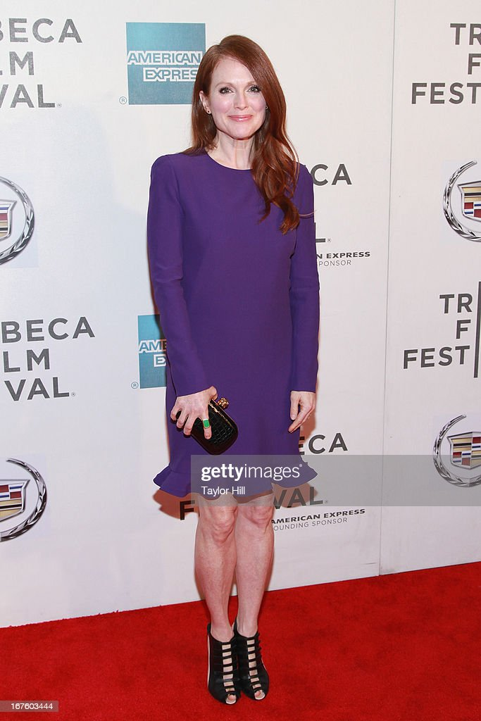 Actress <a gi-track='captionPersonalityLinkClicked' href=/galleries/search?phrase=Julianne+Moore&family=editorial&specificpeople=171555 ng-click='$event.stopPropagation()'>Julianne Moore</a> attends the screening of 'The English Teacher' during the 2013 Tribeca Film Festival at BMCC Tribeca PAC on April 26, 2013 in New York City.