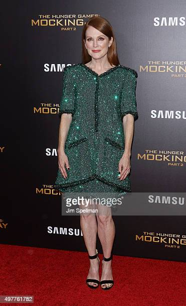 Actress Julianne Moore attends the 'The Hunger Games Mockingjay Part 2' New York premiere at AMC Loews Lincoln Square 13 theater on November 18 2015...