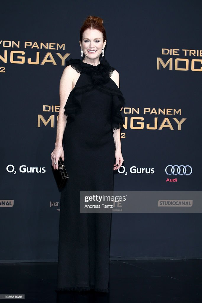 Actress Julianne Moore attends the world premiere of the film 'The Hunger Games Mockingjay Part 2' at CineStar on November 4 2015 in Berlin Germany
