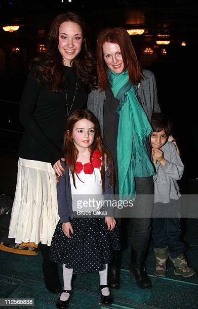 COVERAGE* Actress Julianne Moore daughter Liv Helen Freundlich and friend Reggie pose with Sierra Boggess backstage at 'The Little Mermaid' on...