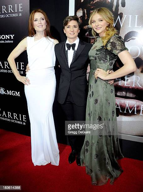 Actress Julianne Moore director Kimberly Peirce and actress Chloe Grace Moretz arrive at the Los Angeles premiere of 'Carrie' at ArcLight Hollywood...