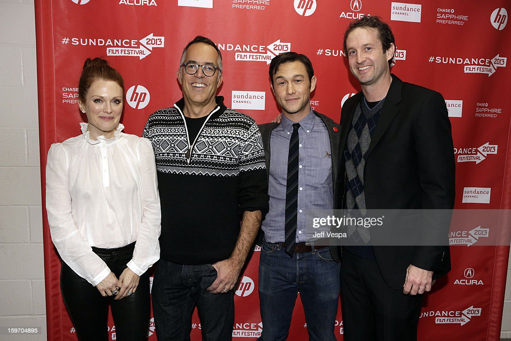 Actress <a gi-track='captionPersonalityLinkClicked' href=/galleries/search?phrase=Julianne+Moore&family=editorial&specificpeople=171555 ng-click='$event.stopPropagation()'>Julianne Moore</a>, Director of the Sundance Film Festival John Cooper, actor/director <a gi-track='captionPersonalityLinkClicked' href=/galleries/search?phrase=Joseph+Gordon-Levitt&family=editorial&specificpeople=213632 ng-click='$event.stopPropagation()'>Joseph Gordon-Levitt</a> and Sundance Film Festival Director of Programming <a gi-track='captionPersonalityLinkClicked' href=/galleries/search?phrase=Trevor+Groth&family=editorial&specificpeople=561179 ng-click='$event.stopPropagation()'>Trevor Groth</a> attend 'Don Jon's Addiction' Premiere during the 2013 Sundance Film Festival at Eccles Center Theatre on January 18, 2013 in Park City, Utah.