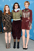 Actress Julianne Moore director Rebecca Miller and actress Greta Gerwig attend the 'Maggie's Plan' photo call during the 66th Berlinale International...