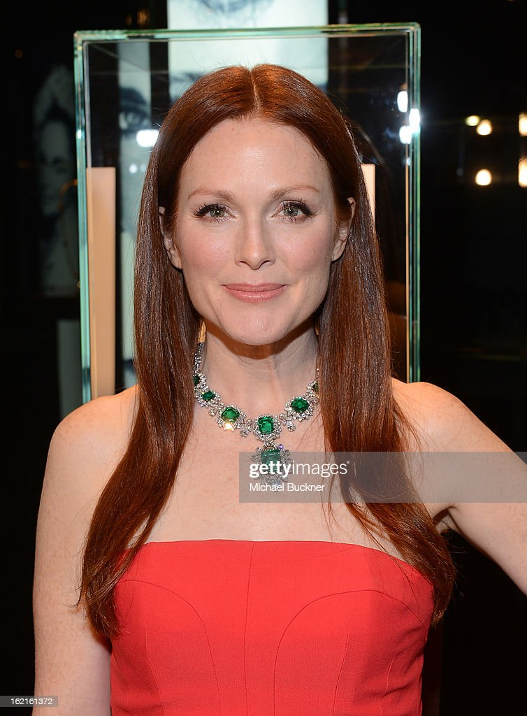 Actress <a gi-track='captionPersonalityLinkClicked' href=/galleries/search?phrase=Julianne+Moore&family=editorial&specificpeople=171555 ng-click='$event.stopPropagation()'>Julianne Moore</a> in BVLGARI attends the BVLGARI celebration of Elizabeth Taylor's collection of BVLGARI jewelry at BVLGARI Beverly Hills on February 19, 2013 in Los Angeles, California.