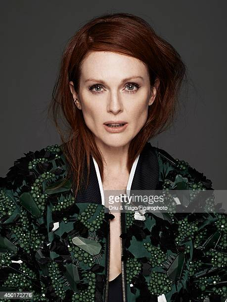 Actress Julianne Moore is photographed for Madame Figaro on February 17 2014 in Paris France Jacket swimsuit ring Makeup by L'Oreal Paris COVER IMAGE...