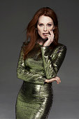 Actress Julianne Moore is photographed for Madame Figaro on February 17 2014 in Paris France Dress ring personal earrings Makeup by L'Oreal Paris...