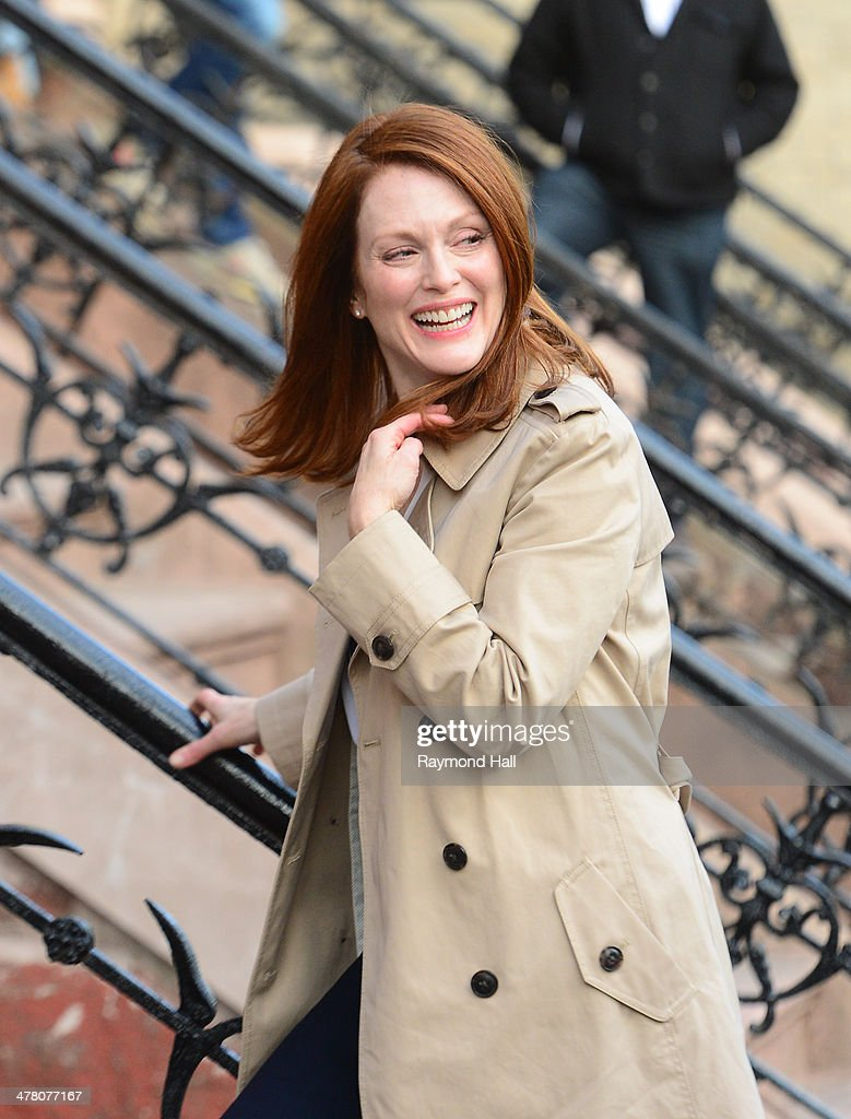 Actress <a gi-track='captionPersonalityLinkClicked' href=/galleries/search?phrase=Julianne+Moore&family=editorial&specificpeople=171555 ng-click='$event.stopPropagation()'>Julianne Moore</a> is seen on the set of 'Still Alice' on March 11, 2014 in New York City.