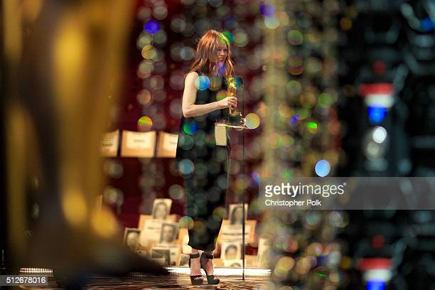 Actress Julianne Moore onstage during rehearsals for the 88th Annual Academy Awards at Dolby Theatre on February 27 2016 in Hollywood California