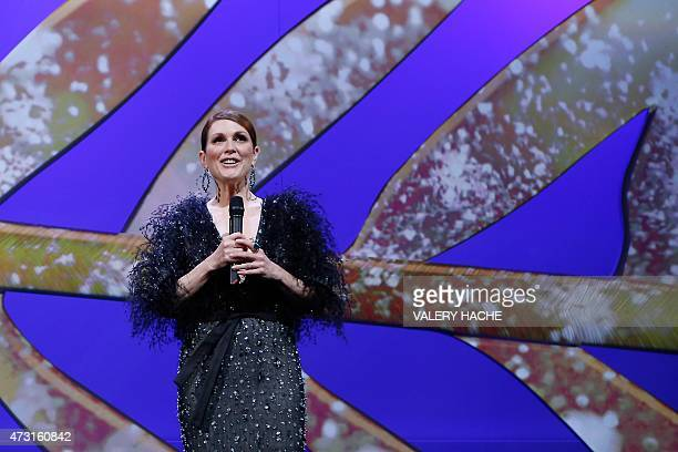 US actress Julianne Moore opens the 68th Cannes Film Festival during the opening ceremony at the Festival palace in Cannes southeastern France on May...