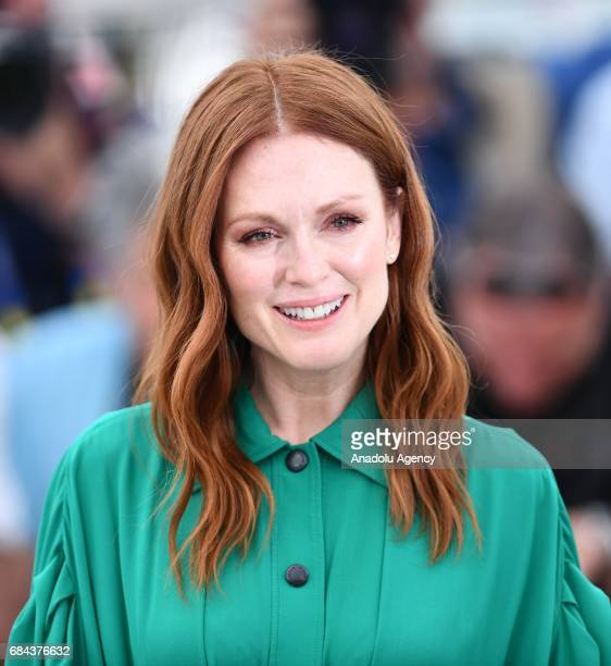 US actress Julianne Moore poses during a photocall for the film 'Wondersrtruck' in competition at the 70th annual Cannes Film Festival in Cannes...