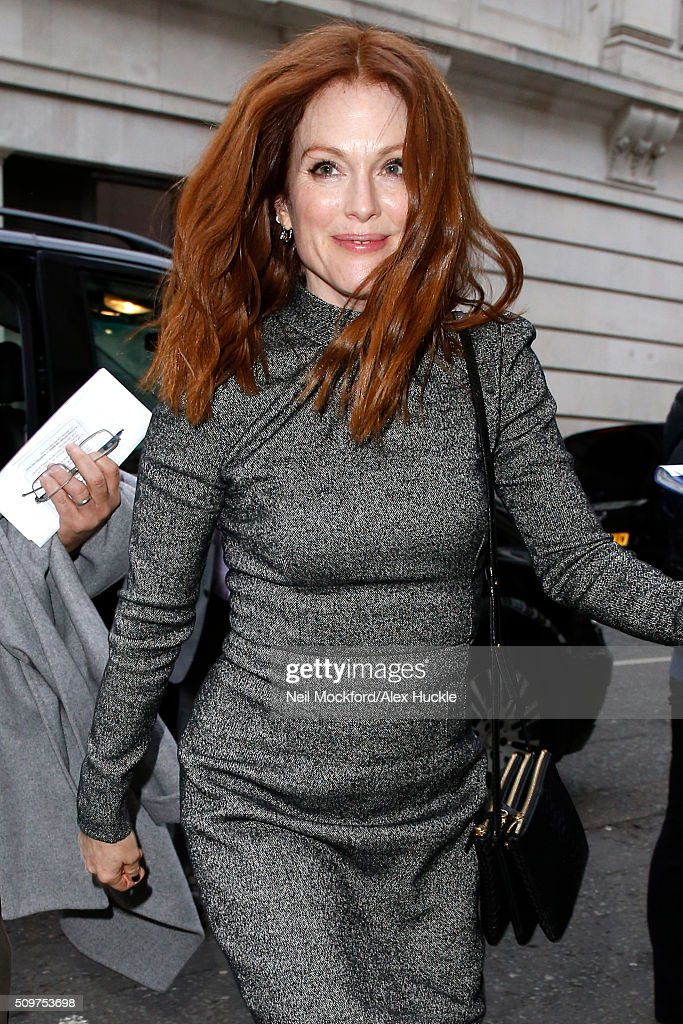 Actress <a gi-track='captionPersonalityLinkClicked' href=/galleries/search?phrase=Julianne+Moore&family=editorial&specificpeople=171555 ng-click='$event.stopPropagation()'>Julianne Moore</a> seen arriving at the BBC Radio 2 Studios on February 12, 2016 in London, England.