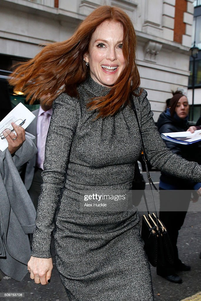 Actress Julianne Moore seen arriving at the BBC Radio 2 Studios on February 12, 2016 in London, England.
