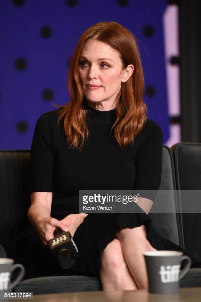 Actress Julianne Moore speaks onstage at the 'Suburbicon' press conference during the 2017 Toronto International Film Festival at TIFF Bell Lightbox...