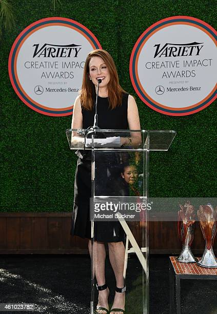 Actress Julianne Moore speaks onstage at Variety's Creative Impact Awards and '10 Directors To Watch' brunch presented by Mercedes Benz at Parker...