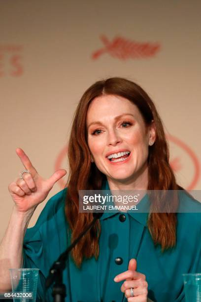US actress Julianne Moore talks on May 18 2017 during a press conference for the film 'Wonderstruck' at the 70th edition of the Cannes Film Festival...